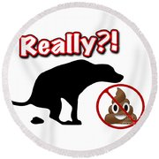 Really No Poop Round Beach Towel by Kathy Tarochione