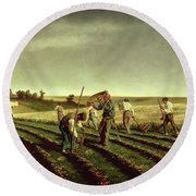 Reaping Sainfoin In Chambaudouin Round Beach Towel by Pierre Edmond Alexandre Hedouin