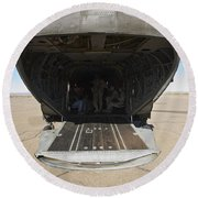 Rear Platform Of A Ch-47 Chinook Round Beach Towel