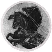 Rearing Horses Round Beach Towel by Eric Fan