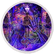 Spiritual Rebirth Of The Blue Planet Round Beach Towel