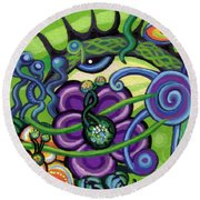 Reciprocal Liason Of The Sea II Round Beach Towel by Genevieve Esson