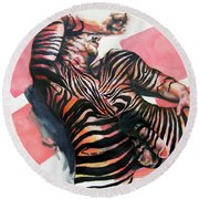 Reclined Striped And Symbolic  Round Beach Towel