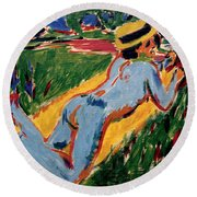 Reclining Blue Nude With Straw Hat Round Beach Towel