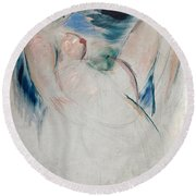 Reclining Female Nude Round Beach Towel