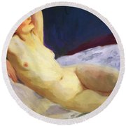 Reclining Nude Barbara Brown 1916 Round Beach Towel