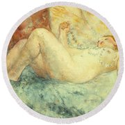 Reclining Nude Round Beach Towel by Henri Lebasque