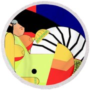 Reclining Nude In Blue And Red Round Beach Towel