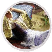 Reclining Odalisque Round Beach Towel
