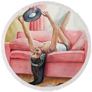 Records And Chill Round Beach Towel