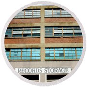 Records Storage- Nashville Photography By Linda Woods Round Beach Towel