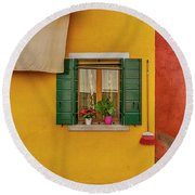 Rectangle Iterations Broom And Laundry Burano_dsc5134_03042017 Round Beach Towel