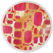 Rectangles And Jangles Round Beach Towel
