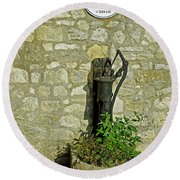 Rectory Mansion And Hand Pump - Brading Round Beach Towel