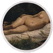 Recumbent Nymph Round Beach Towel by Anselm Feuerbach