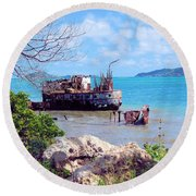 Recycled In Grenada Round Beach Towel