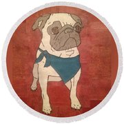 Recycled Pug Round Beach Towel