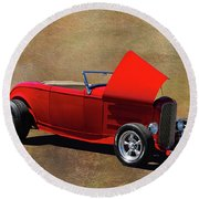Red 1932 Ford Hot Rod  Round Beach Towel