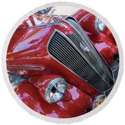 Red 1938 Plymouth Round Beach Towel