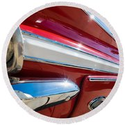 Red 1960 Chevy Low Rider Round Beach Towel