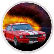 Red 1966 Mustang Fastback Round Beach Towel
