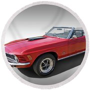 Red 1970 Mach 1 Mustang 351 Cleveland Round Beach Towel