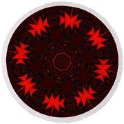Red Abstract 031211 Round Beach Towel