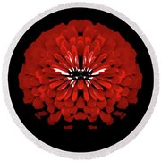 Red Abstract Flower One Round Beach Towel