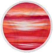 Red Abstract Sunset Round Beach Towel