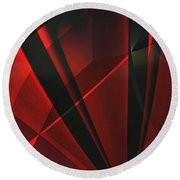 Red Abstractum Round Beach Towel