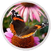 Red Admiral Butterfly Round Beach Towel