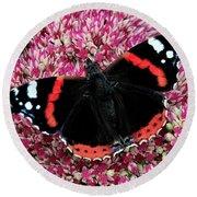 Red Admiral Butterfly Vanesa Atalanta Round Beach Towel
