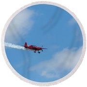 Red Aerobatic Airplane 19 Round Beach Towel