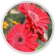 Red Afternoon Round Beach Towel