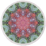 Red Amaryllis Trio Kaleidoscope Round Beach Towel