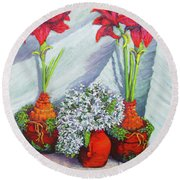 Red Amayrillis Round Beach Towel
