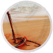 Red Anchor Round Beach Towel
