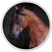 Red Ancient Horse No 01 Round Beach Towel