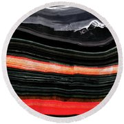 Red And Black Art - Fire Lines - Sharon Cummings Round Beach Towel