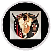 Red And Black Buffalo Design Round Beach Towel