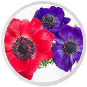 Red And Blue Anemone Flowers  Round Beach Towel