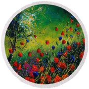 Red And Blue Poppies 67 1524 Round Beach Towel