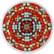 Red And Blue Stones Round Beach Towel