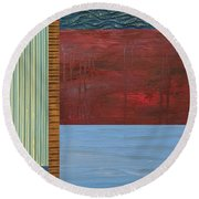 Red And Blue Study Round Beach Towel by Michelle Calkins