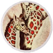 Red And Brown Giraffes Round Beach Towel