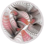Red And Brown Round Beach Towel