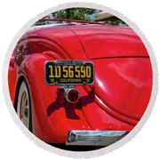 Red And Chrome Round Beach Towel