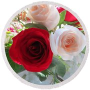 Red And Cream Tea Roses In Crystal Round Beach Towel