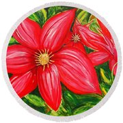 Red And Green Round Beach Towel