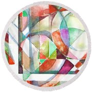 Red And Green Round Beach Towel by Mindy Newman